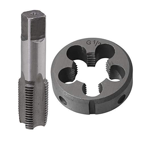 BQLZR BSP 1/2 Legierung Stahl Gewindeschneider + HSS Handgewindebohrer Kegel Kit Einfädelwerkzeug für die Bearbeitung von Außengewinde