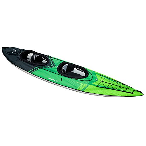 AQUAGLIDE Navarro 145 Convertible Inflatable Kayak with Drop Stitch Floor - 1-3 Person Touring Kayak Without Cover, Green