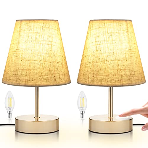 Lámpara de Noche Táctil de 2 Piezas, Lámpara de Escritorio de Diseño Clásico, con Control Táctil Regulable, 3 Modos de Lluminación, Tamaño Pequeño, Perfecta para Oficina, Dormitorio, Hotel (Beige)