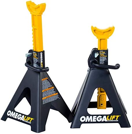 Omega Lift Heavy Duty 6 Ton Jack Stands Pair Double Locking Pins Handle Lock and Mobility Pin product image