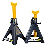Omega Lift Heavy Duty 6 Ton Jack Stands Pair - Double Locking Pins - Handle Lock and Mobility Pin for Auto Repair Shop with Extra Safety