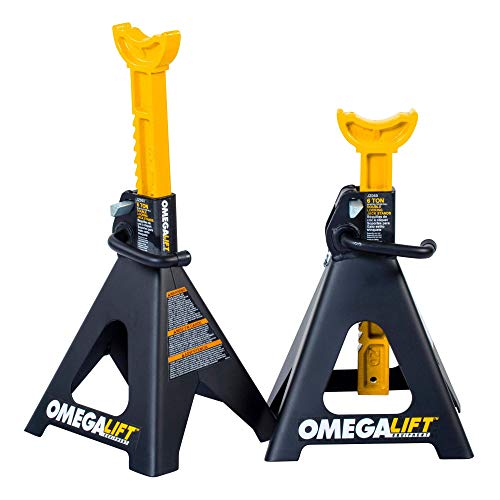 Omega Lift Heavy Duty 6 Ton Jack Stands Pair - Double Locking Pins - Handle Lock and Mobility Pin for Auto Repair Shop with Extra Safety (JZ060)