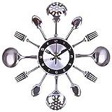 Dudifeng 31 41 cm acero inoxidable cuchara tenedor reloj de pared silencioso decoración de salón estilo mediterráneo decoración del hogar plata 35 cm
