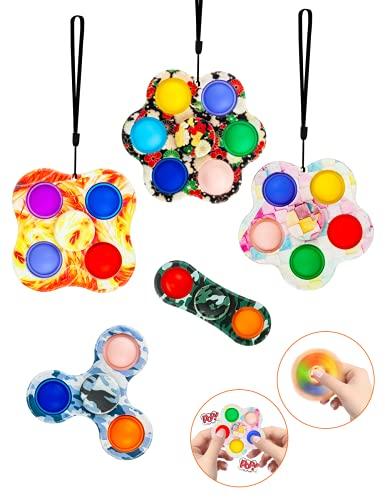 Mr. T&J 5 Piezas de Fidget Spinner, 2 en 1, Llavero portátil de Juguete Simple para aliviar el estrés para niños y Adultos, Paquete Simple de Silicona para TDAH   TOC   Autismo   ansiedad   estrés