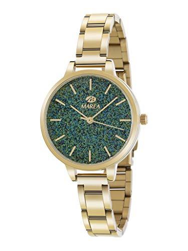Marea B41239/11 Reloj para Mujer con Correa Dorado y Pantalla en Verde