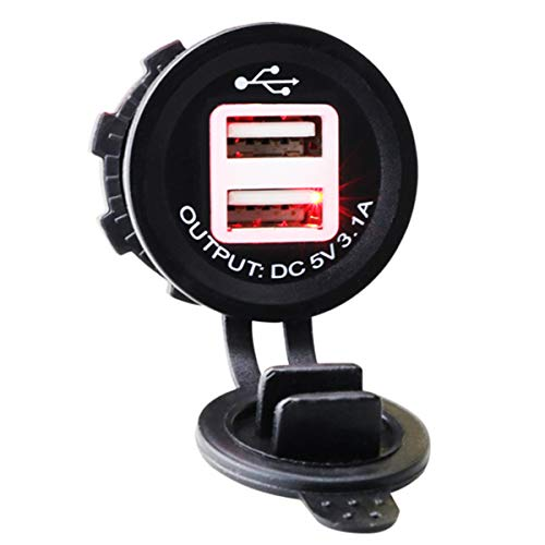 Yunnyp Waterdichte oplader 12V / 24V Dual-USB-poort autolader waterdichte stekkerdoos adapter voor motorfiets Rotlicht Rood licht