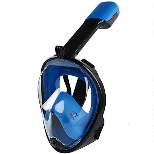 NZQK Máscara de buceo con sistema de respiración segura de 180° con tiras ajustables y soporte de cámara de acción antivaho, antifugas, juego de máscara de esnórquel para adultos y niños S/M