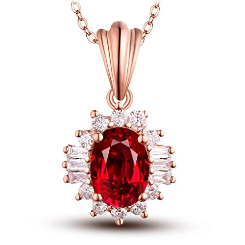 AmDxD Collar de oro rosa de 18 quilates, cadena de rubí de 1 quilates con colgante de diamante, collar de boda para novias, regalos de cumpleaños | Regalos de San Valentín para mujeres