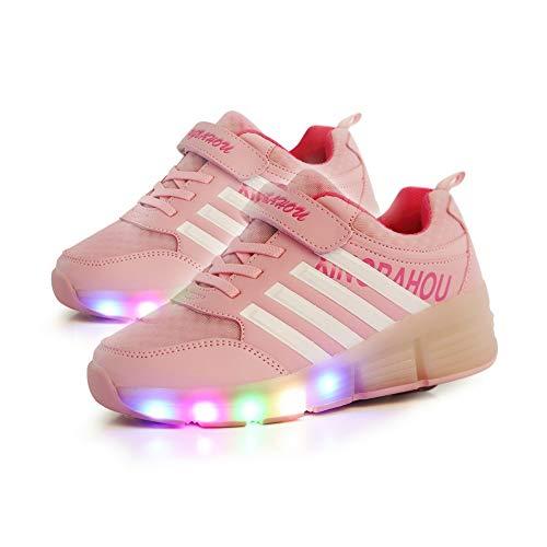 JESU Wheels Shoes Kids LED Roller Skate Shoes, LED Blinkende Rollschuhe, Einzelrad Schuhe Mit Rollen, Leuchtend Skates, Bequeme Atmungsaktive Schuhe,Rosa,34
