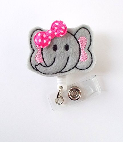 Baby Elephant Pink with Bow - Retractable Id Badge Reel - Name Badge Holder - Pediatric Badge Reel - Nurse Badge Holder - Nursing Badge - Felt Badge