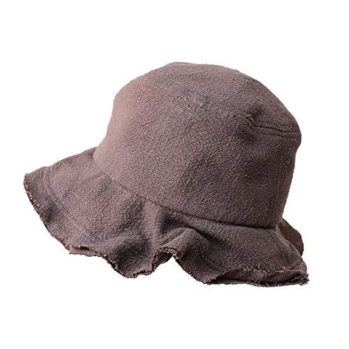 ANNP Sonnenhut mit breitem Rand und Sonnenschutz, Fischerhut, grau, für Kinder, Baumwolle und Leinen, alte Einfassung, UV-Sonnenhut, verstellbarer Hut für Outdoor, Bergsteigen, Reisen