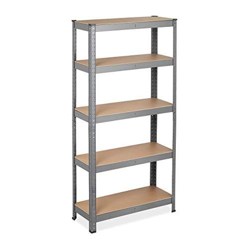 Relaxdays Estantería de metal para cargas pesadas, 5 niveles, 150 x 75 x 30 cm, capacidad de carga de 875 kg, para sótano, garaje, color gris