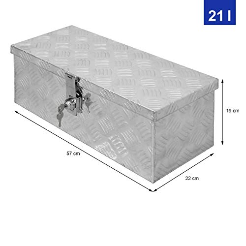ECD Germany Alu Werkzeugkasten 57 x 22 x 19 cm - abschließbar - Werkzeugkoffer Werkzeugkiste Werkzeugbox Alukiste Kiste Alubox Transportbox Transportkiste Deichselbox Truckbox Box - 4