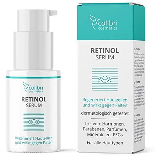 Retinol Serum hochdosiert - 4-fach Wirkstoffkomplex mit Retinol, Retinal, Bakuchiol und Ceramiden - Mit Vitamin B3 zur Regenerierung der Haut - Anti Aging Creme für Gesicht - Made in Germany