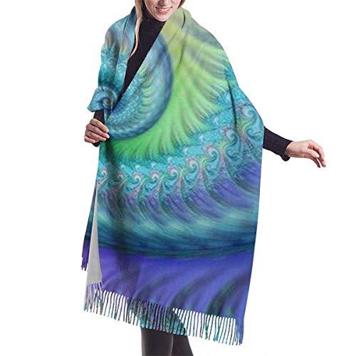 Tengyuntong Bufanda de mantón Mujer Chales para, Fractal Turquesa Pulpo Hippie Art Bufanda de cachemira para mujeres Hombres Ligero Unisex Moda Suave Invierno Bufandas Fringe Chal Wraps