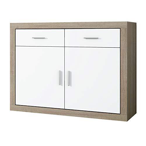 Mueble Aparador 2 Puertas + 2 cajones, Buffet para Cocina y Comedor, Modelo Lara, Acabado en Color Cambria y Blanco, Medidas: 120 cm (Largo) x 41,4 cm (Fondo) x 90,2 cm (Alto)
