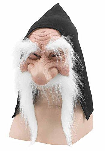 Halloween Old Herren Verkleidung Kostümparty Wichtel Zwerg Goblin Maske Mit Kaputze & Bart - Weiß, One size