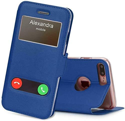 Para todos los iPhones - Funda con tapa abatible doble ventana tamaño iPhone 7/iPhone 8, color azul marino