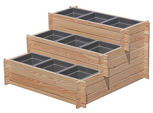 Gartenpirat Stufenbeet Holz Lärche Hochbeet dreistufig mit 9X Pflanzkasteneinsatz