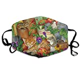 Boys Girls Adults Soft Windproof Dust Cloth Face Ma-SKS Decorations,Thanksgiving Cats Squirrel Fall Harvest Reusable Washing Cloth Half Face Scarf Mouth Decoration for Outdoor