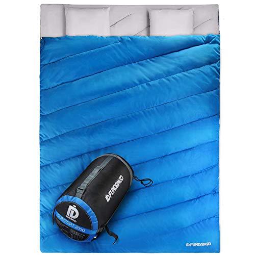 FUNDANGO Doppelschlafsack für 2 Personen, für Erwachsene, kompakt, wasserdicht, warm, warm, für Camping, Rucksackreisen, Wandern, Übergröße XL mit Tragetasche und 2 Kissen