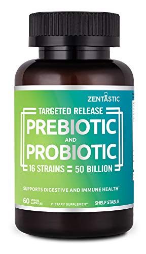Zentastic Probiotics & Prebiotics Supplement - 50 Billion CFU - for Men & Women's Immune & Digestive Health - 16 Strains - Shelf Stable - 60 Delayed Release Veggie Capsules
