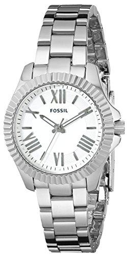 Fossil AM4608de la mujer Cecile pequeñas three-hand–Reloj de acero inoxidable Silver-tone