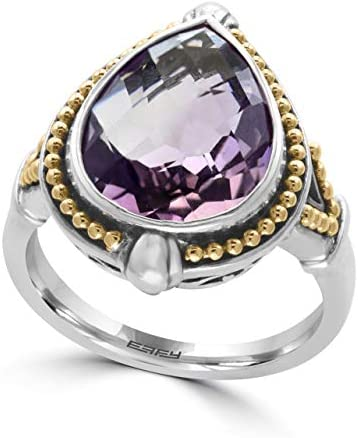 EFFY 925 STERLING SILVER 18K YELLOW GOLD AMETHYST RING product image