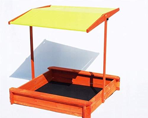 123home24.com Imprägnierter Sandkasten mit einem Dach und Bänken 120x120 cm Sandbox mit höhenverstellbarem und neigbarem Sonnendach und Bodenplane UV Kindersandkasten (gelb)
