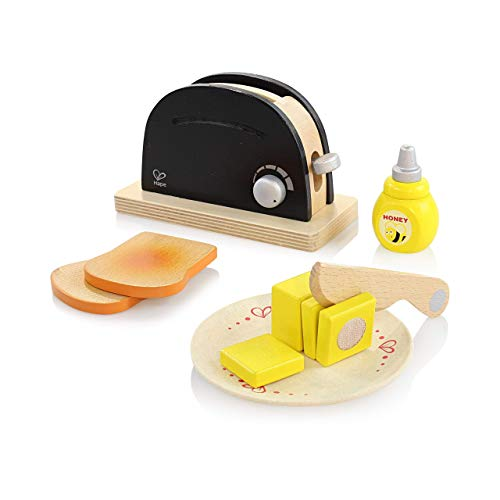 Hape Pop Up Toaster Set in Black and Silver Wooden Play Kitchen Set