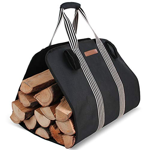 MyFirePlaceDirect Indoor Heavy Firewood Log Carrier Tote, Oxford Canvas Fabric Foldable Wood Carrier Padded Handles , Outdoor Large Capacity Firewood Carrier Bag with Hook and Loop