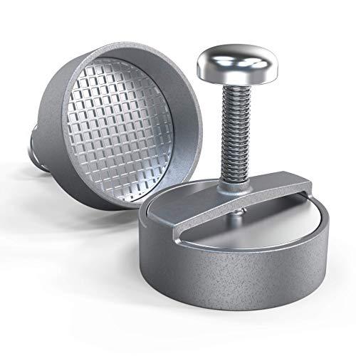 Pressa per hamburger professionale, Ø 125 mm, in alluminio – espulsore per patty goffrato | Pressa in alluminio pressofuso per hamburger perfetto | Stampino per carne tritata di alta qualità