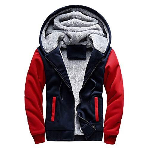 Homme Sweats Épaisse Veste À Capuche Hiver Chaud Blousons Manteaux Zippé Hoodies Grande Taille Rouge Bleu 3XL