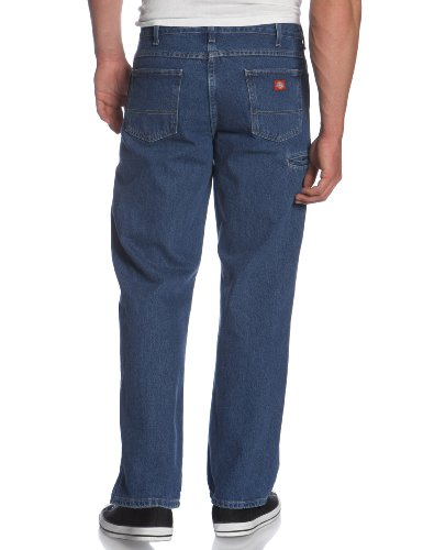 Dickies Men's Relaxed Fit Double Knee Work Horse Jean, Stone Washed Indigo Blue, 34x30