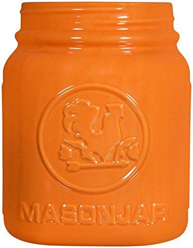 """Home Essentials Mason Jar Utensil Holder, Orange, 8"""""""