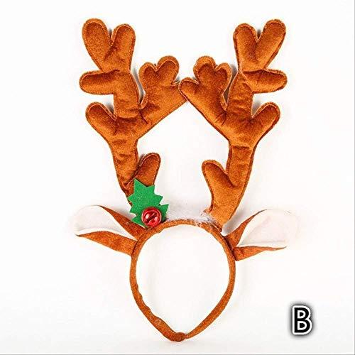 FHFF Kersthoofdversiering Kerstmis hoofdband bel Hair Band Kerstmis hoofdversiering kerstdecoratie Velvet Christmas Deer B