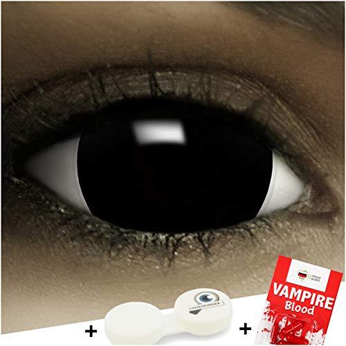 FXCONTACTS Maxi Sclera Kontaktlinsen Black, in schwarz inklusive Kunstblut Kapseln und Kontaktlinsenbehälter, 1 Paar Linsen (2 Stück) weich, ohne Stärke