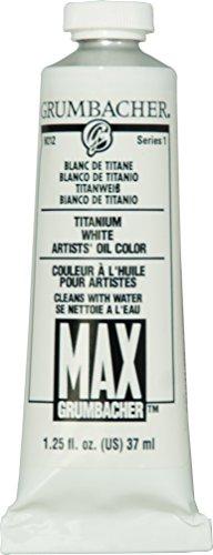 Grumbacher Max Water Miscible Oil Paint, 37ml/1.25 oz, Titanium White