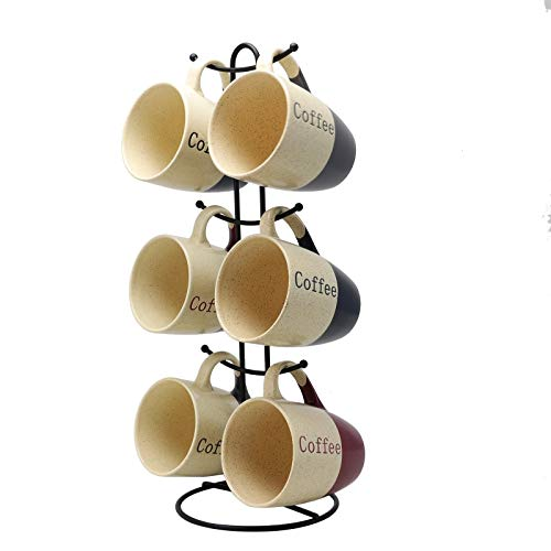 Elama 12oz Coffee House Smooth Stoneware Mug Cup Set 7 Piece DualTone Assorted Colors with Stand