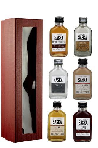 Geschenkset Saska Minis in Geschenkbox | 6 x Saska Wodka/Wodkalikör