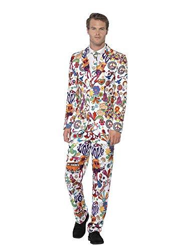 shoperama 60's Groovy Anzug mit Krawatte Herren-Kostüm Sakko Jackett Hose JAG Sechziger 60er Jahre Swinging Sixties Flower Power Party, Größe:L