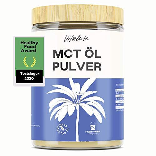 MCT ÖL Pulver - Testsieger 2020- C8-100% Kokos - 500g - 50 Portionen - Keto - Bulletproof coffee - MCT Pulver aus Kokos - Kein Palmöl