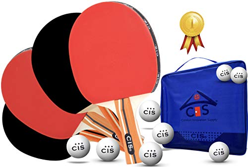 Family Premium Ping Pong Set Table Tennis Racket Kit  4 Player Paddle Bundle  8 Professional Game Balls  1 Bag Portable Storage Case Indoor amp Outdoor Fun Any Time Excellent Star Gift