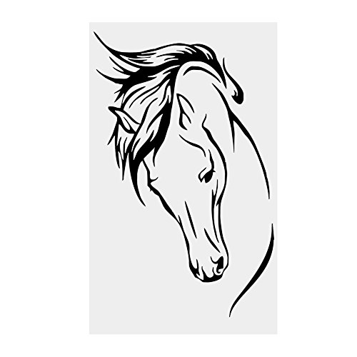 Adesivi Murali,Cavallo Nero Removibile Autoadesivo Impermeabile PVC Carta da Parati Fai da te 3D...