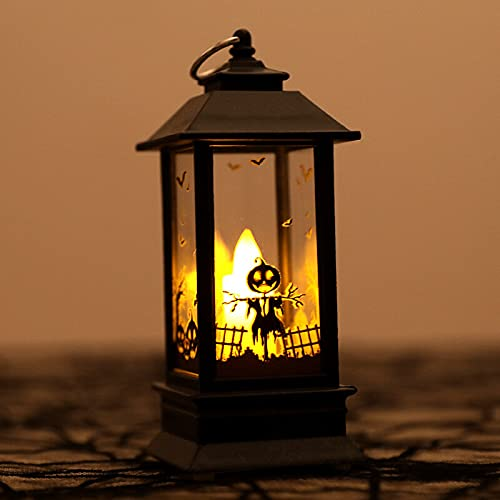 QIEP Farol de agua de Halloween Calabaza Calavera Bruja Iluminada Globo de Nieve Lámpara de Noche de Halloween Casa Embrujada Prop Decoración para Halloween Fiesta Suministros (Calabaza)