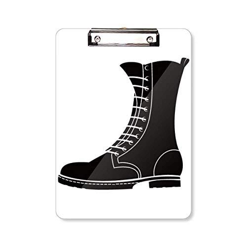 Heren Zwarte Hoge Laarzen Silhouette Patroon Clipboard Folder Schrijven Pad Achterplaat A4