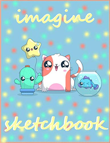 Sketchbook: LOVE  Cat , catus , fish , star kawaii cover: LOVE KAWAII CATS , CACTUS , FISH STAR Extra large (8.5 x 11) inches, 120 pages, White paper, Sketch, Draw and Paint freepik draw