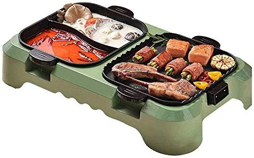Griglia elettrica portatile, Indoor Electric BBQ Grill Grill Grill Hot Pot, Grill BBQ coreano, fornello barbecue Multifunzionale Shabu Shabu Pot 3 in 1 Padella non-bastone Separato Dual Temperature Co