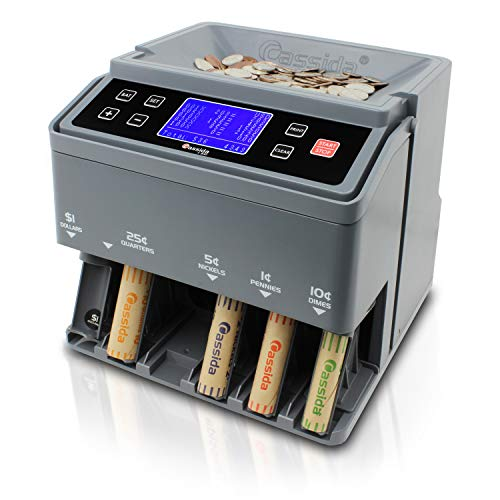 Cassida C300 Professional USD Coin Counter, Sorter and Wrapper/Roller | 35% Faster Wrapping Coins with Quickload Technology | 300 Coins/Minute | Printing-Compatible | Includes 5 Wrapper Sets