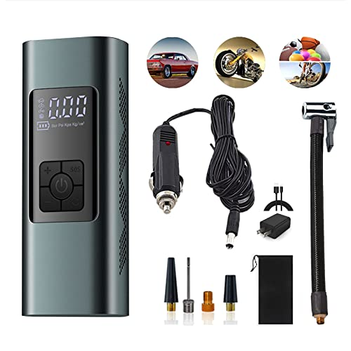 Tire Inflator Cordless for Car Bicycle 12V Portable Air Compressor, 140PSI 6000mAh Powerbank Backpack Digital Air Pump Rechargeable, Auto-Off Tire Pump with Pressure Gauge for Motorcycles Balls etc.